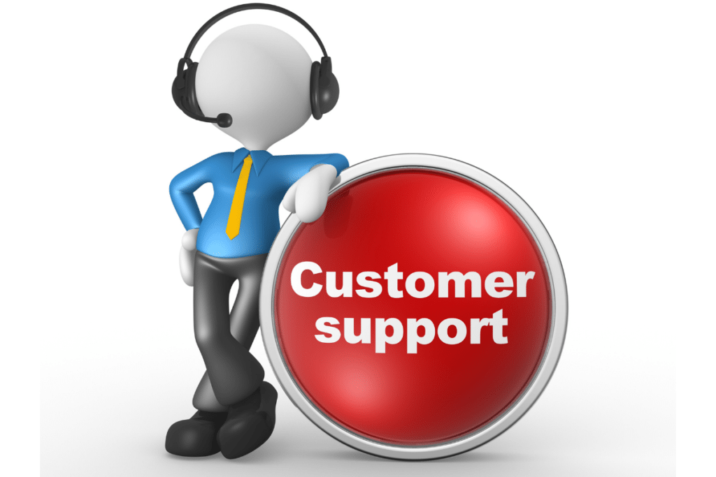 Cartoon person leanong against a red customer support button