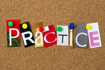 calk board with patchwork letters spelling the word practice