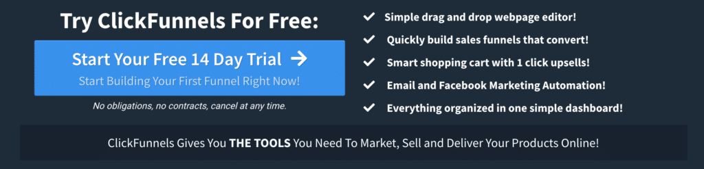 clickFunnels 14 day free trial sign up button