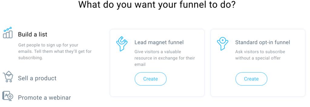 GetResponse build A List Funnel Options