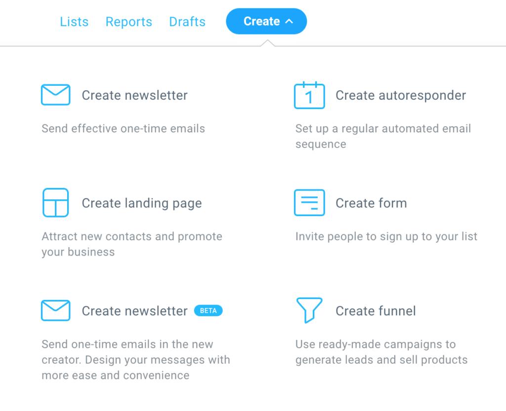 GetResponse create menu options