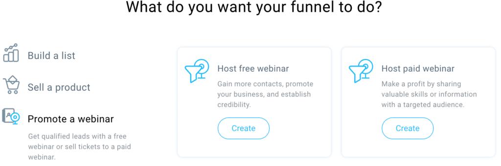 GetResponse Host A Webinar Funnel Options