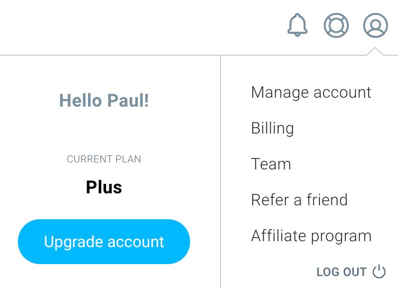 GetResponse My Account menu