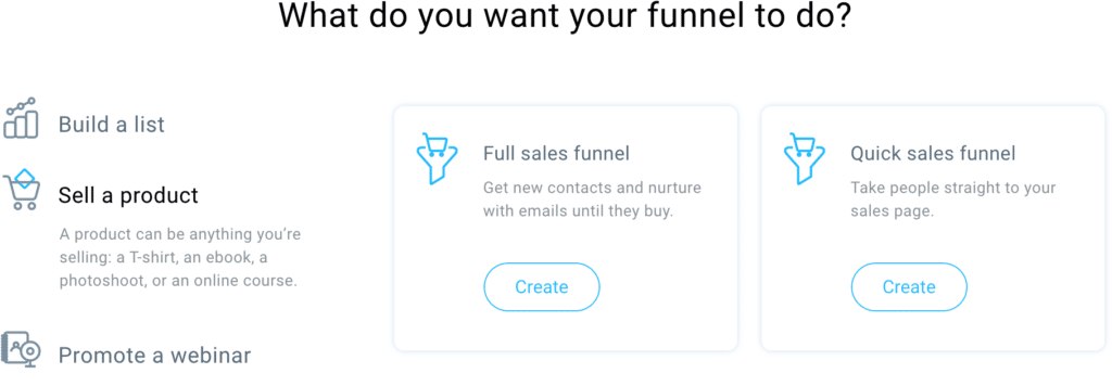 GetResponse Sell A Product Funnel Options