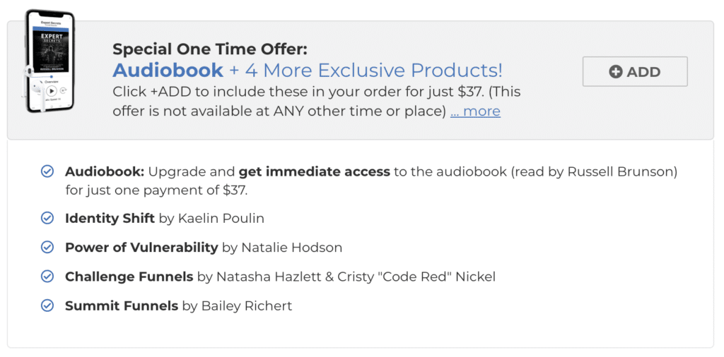 expert secrets audiobook upsell option