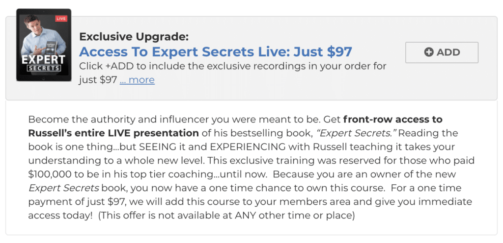 expert secrets live upsell