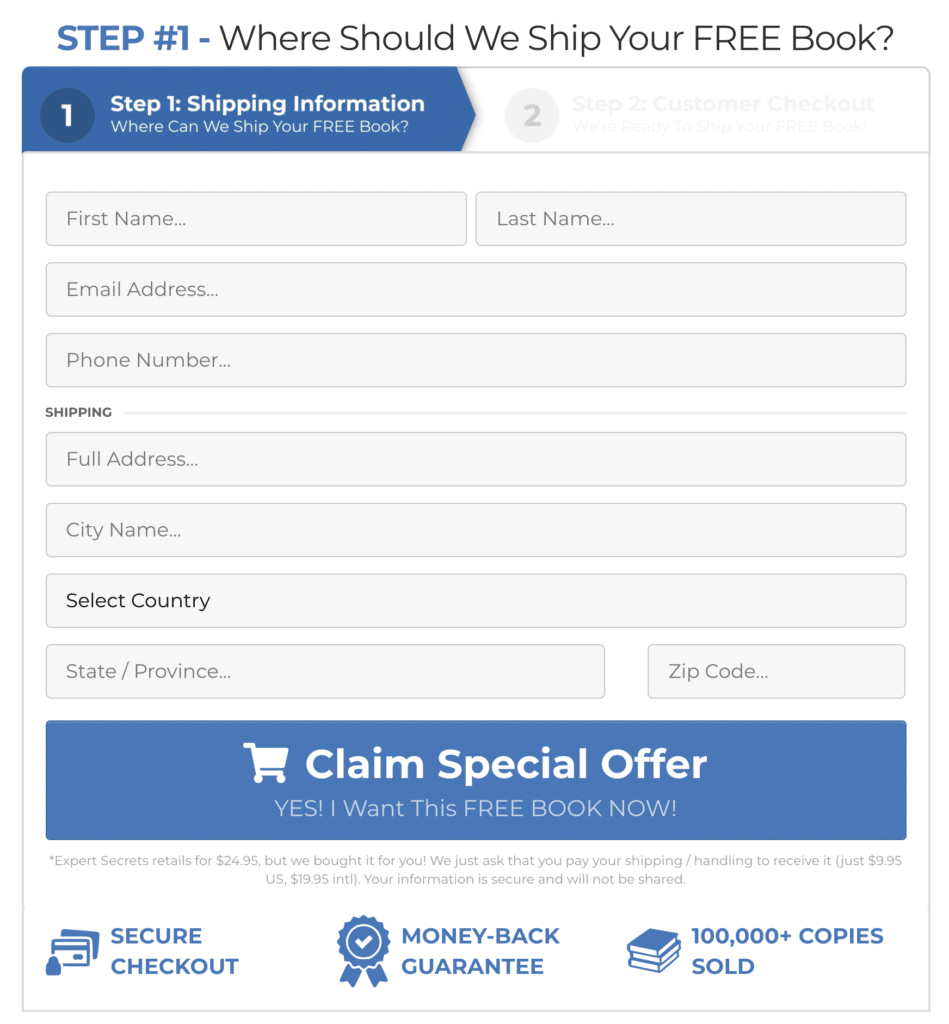 your shipping details for expert secrets