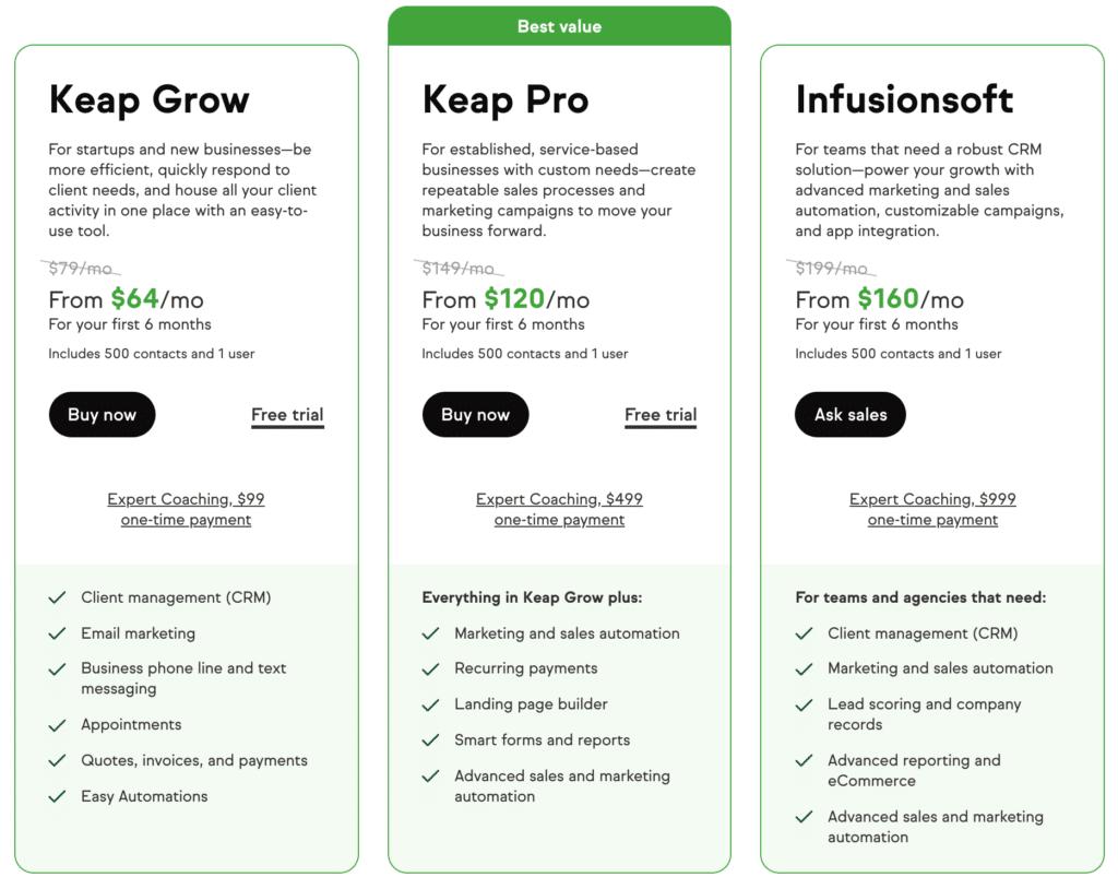 Keap Pricing Plans