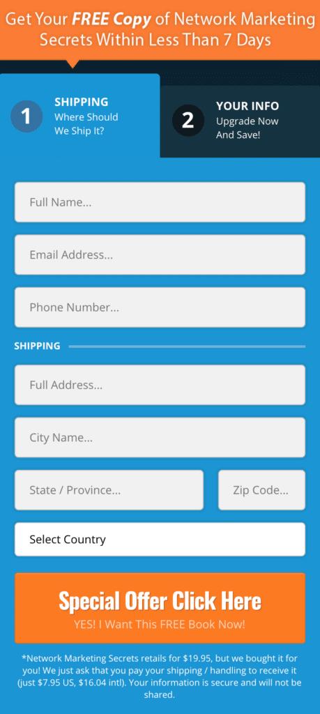 Network Marketing Secrets Book Order Form