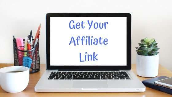 Laptop computer with get you affiliate link on the screen