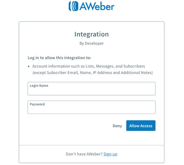 AWeber login page