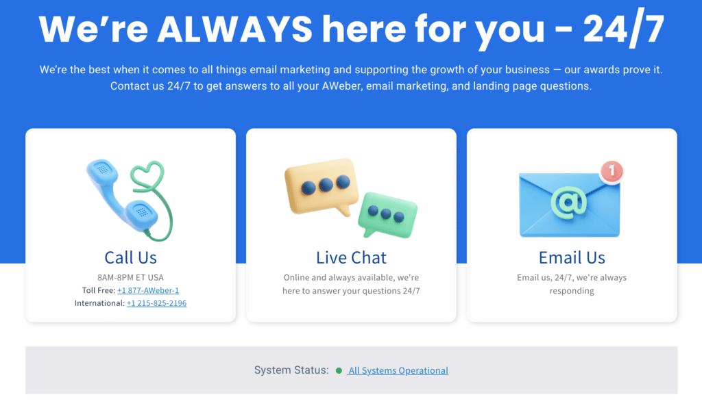 AWeber Customer Support Information
