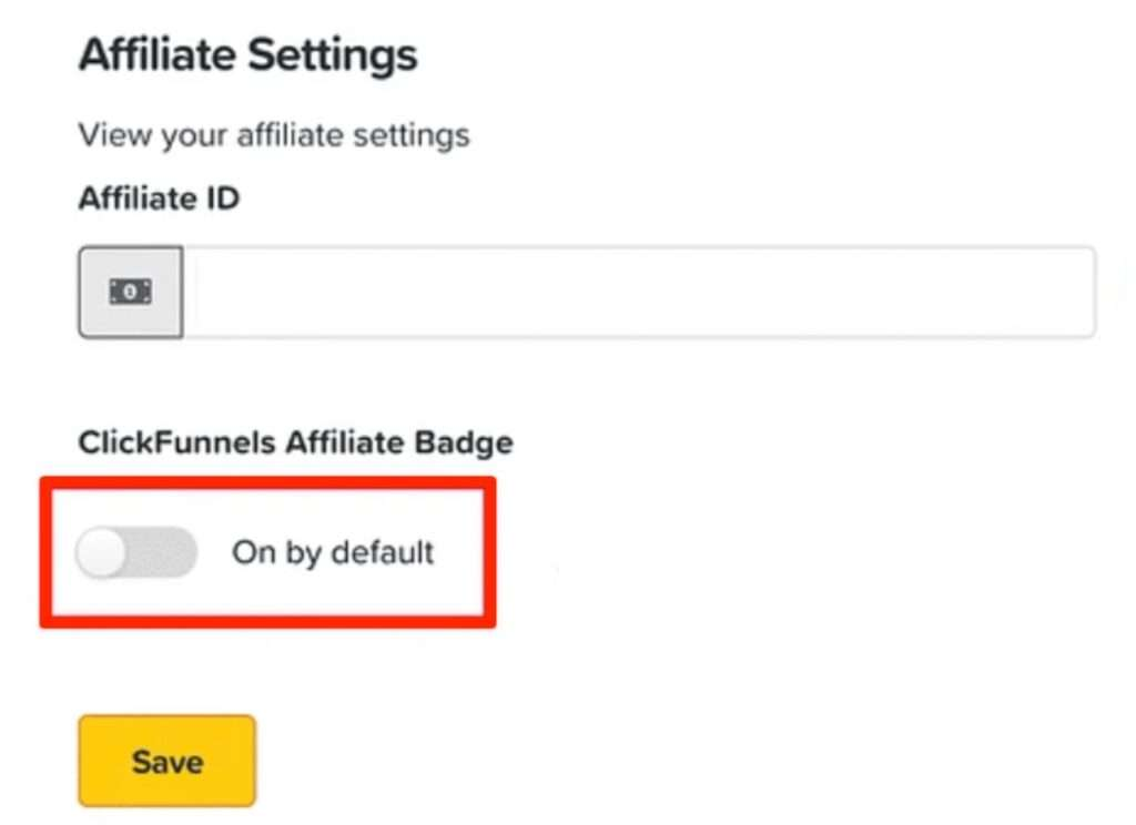 ClickFunnels Badge Default Setting Toggle Switch